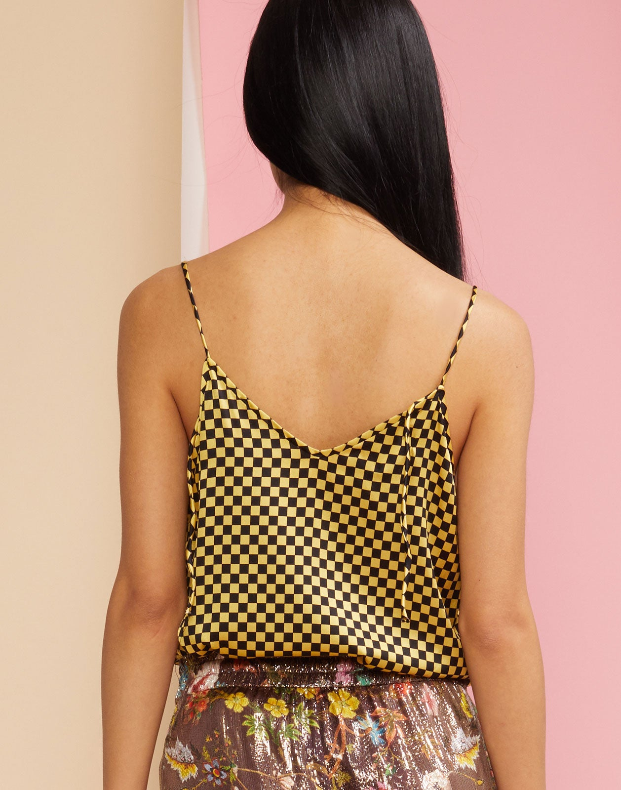 Back view of the Checkmate Tank Top in yellow and black check print.