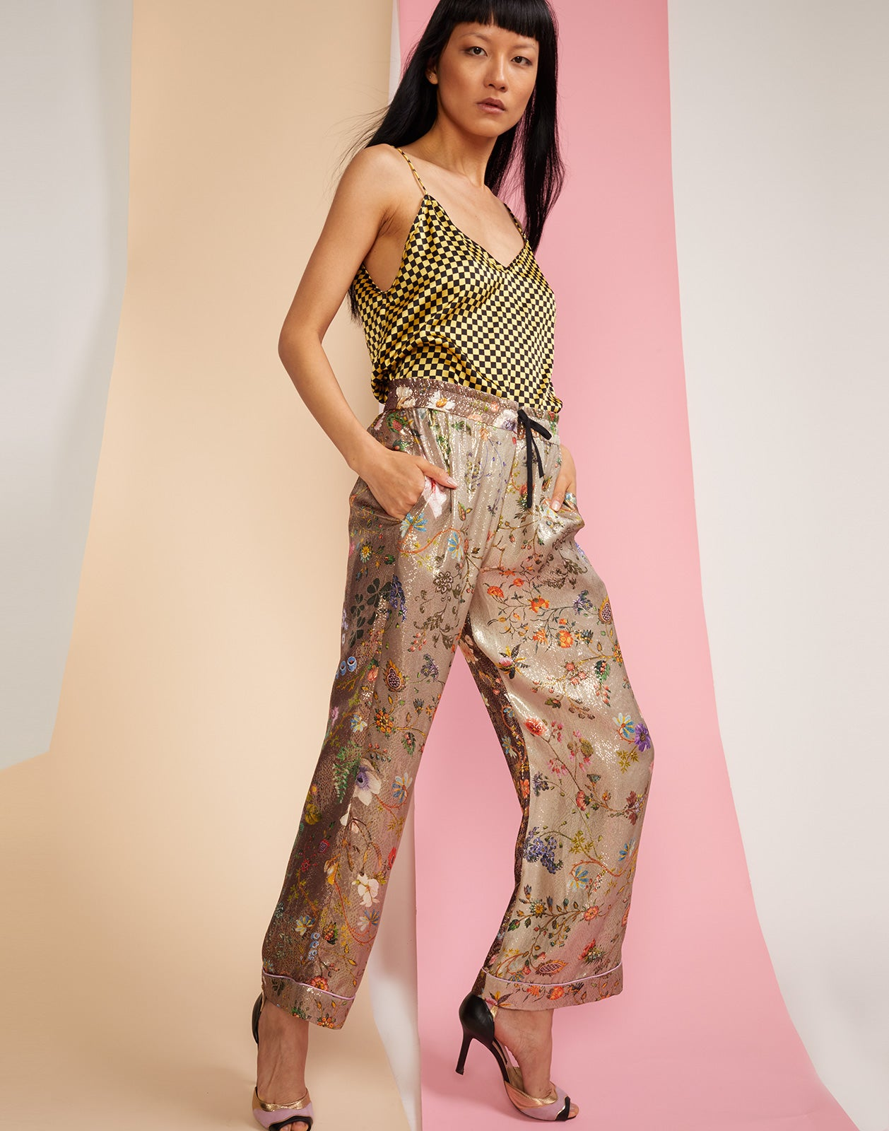 Side front view of garden ombre print pants in metallic fabric
