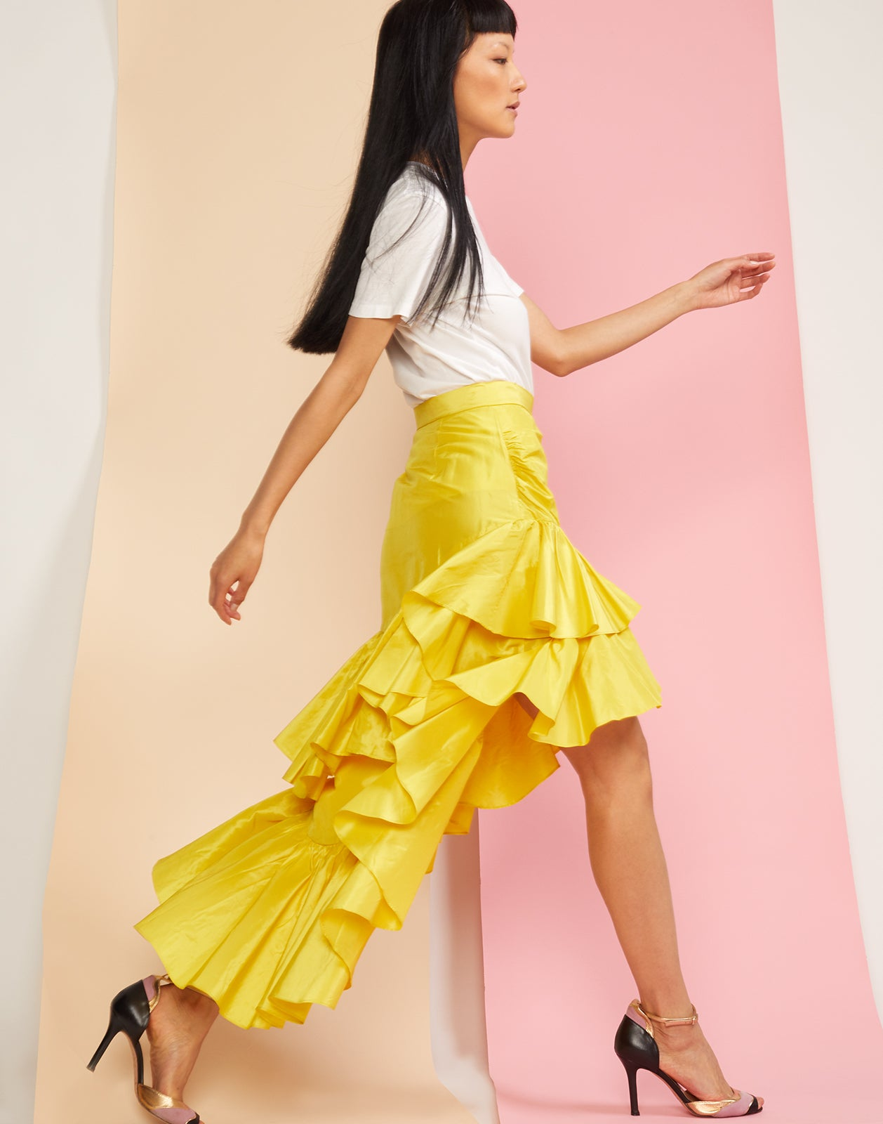 Side view of the Camila silk taffeta ruffle skirt.