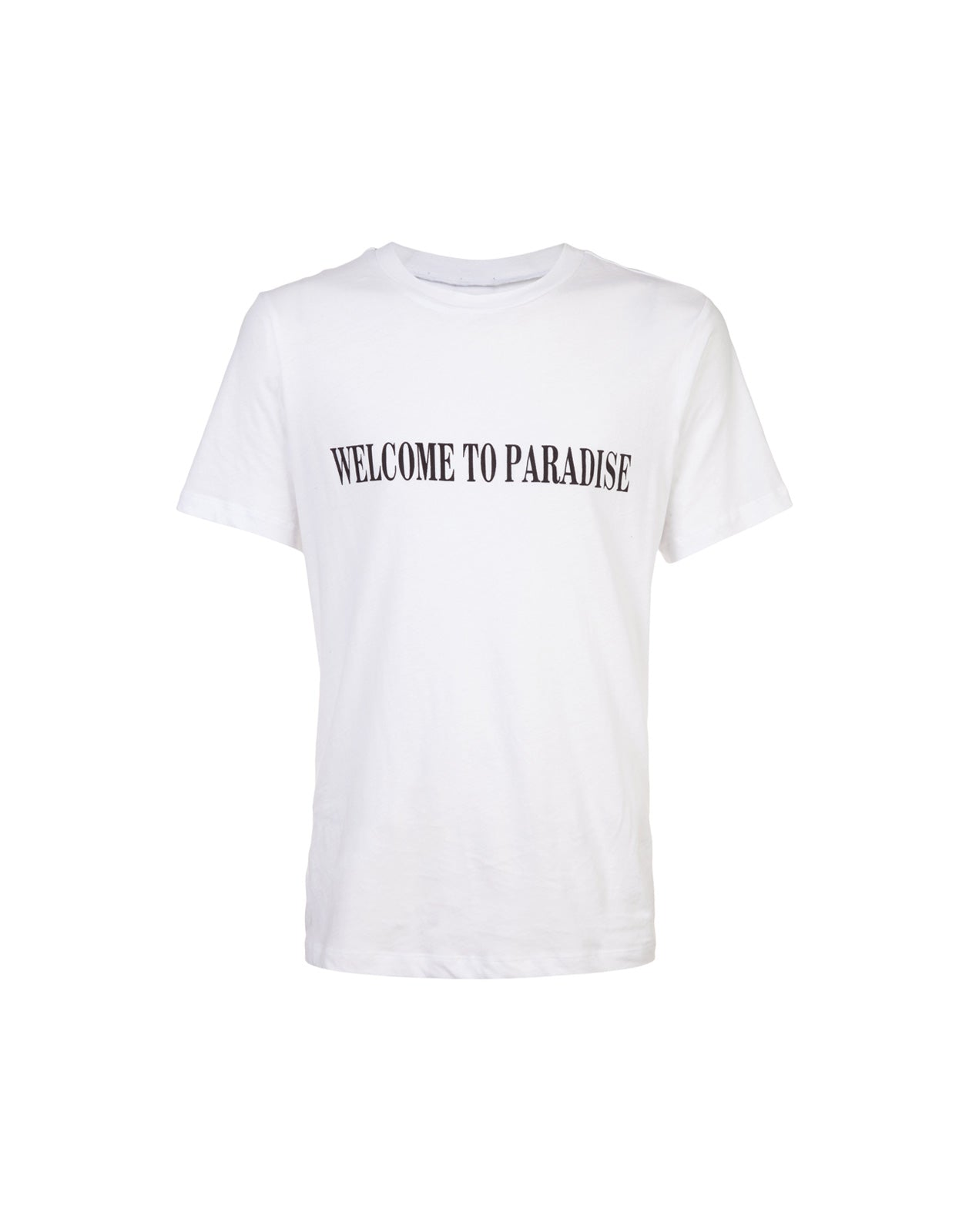 White tee with 'welcome to paradise' printed across the front.