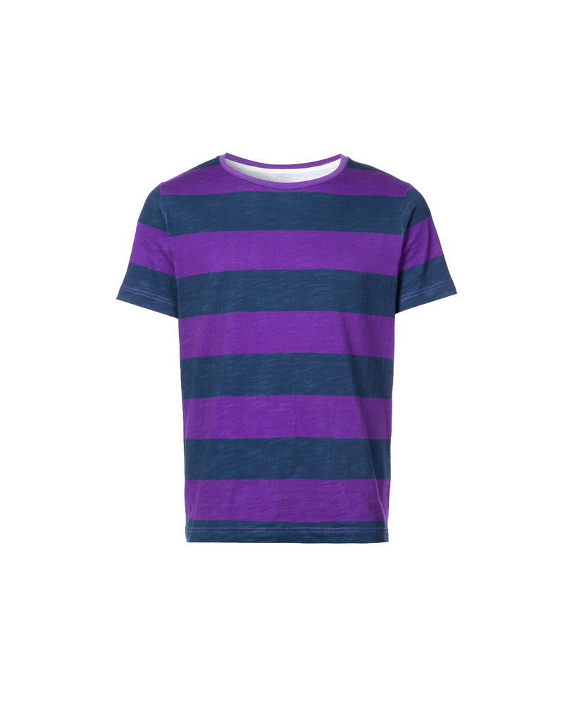 Wide striped purple and navy t-shirt.