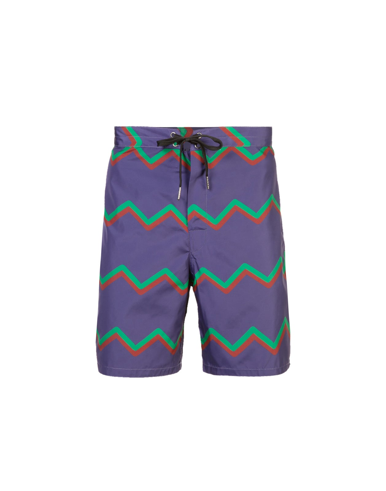 Product image of board shorts with chevron print stripes.