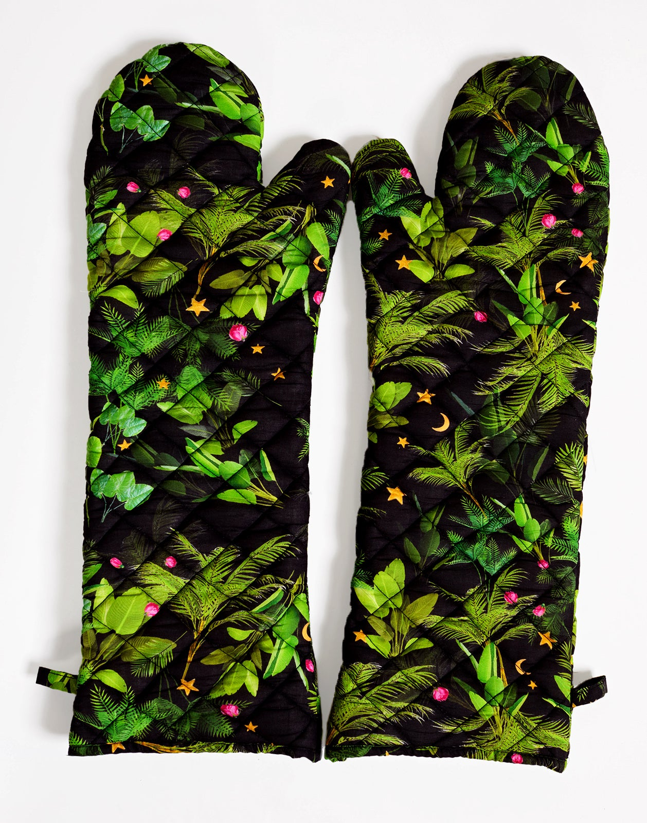 Black Tropical Quilted Oven Mitts