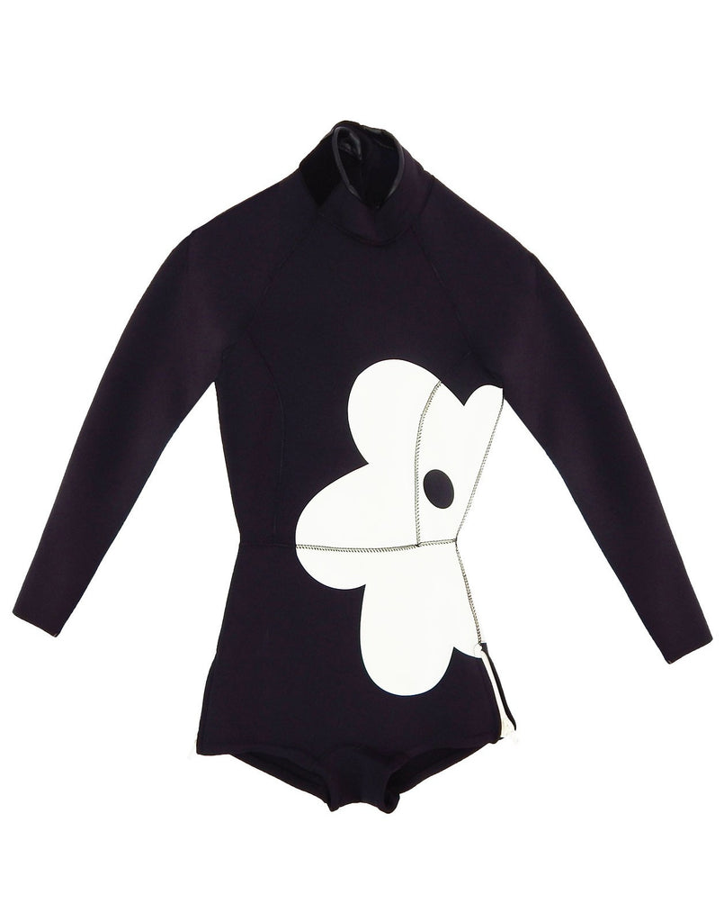 Front flat image of the 2mm neoprene wetsuit with large placed flower detail.