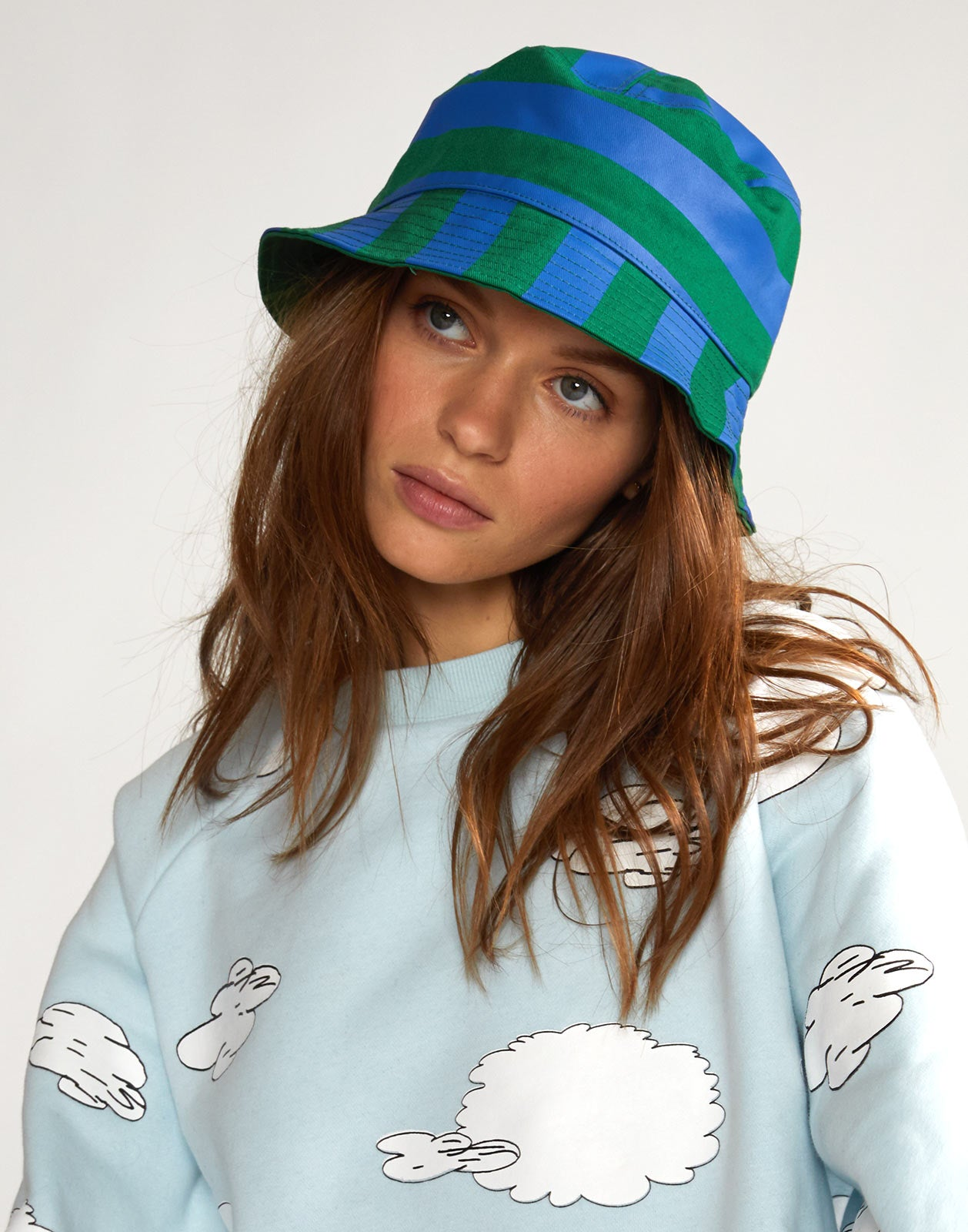 Striped Bucket Hat in blue green print.