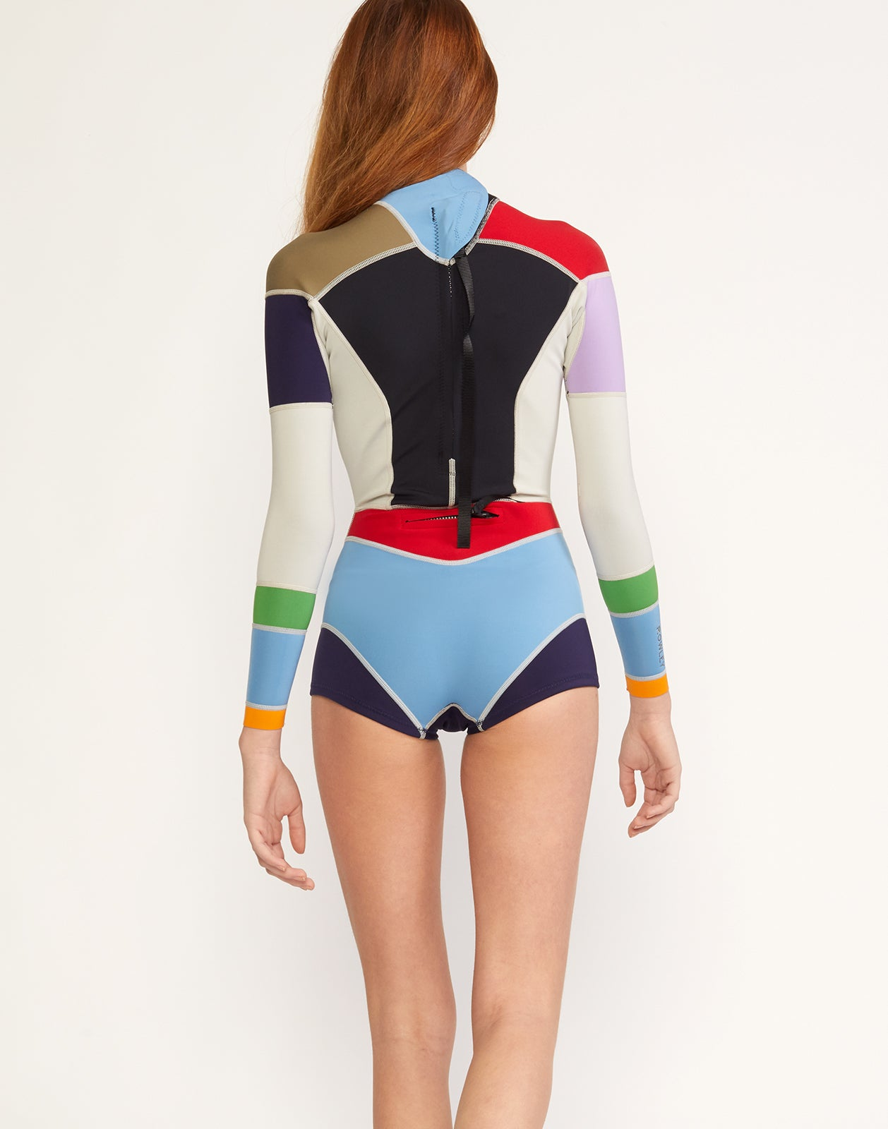 Back view of colorblocked neoprene wetsuit