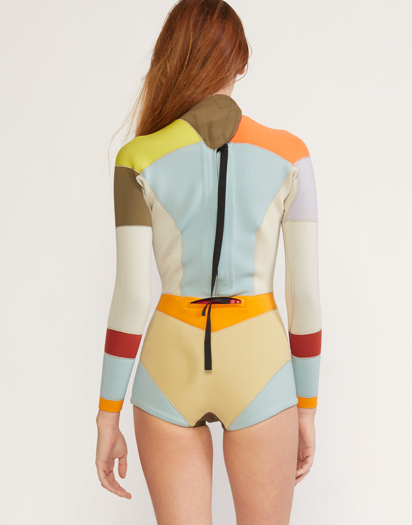 Back view of multi-color asymmetrical colorblock full performance wetsuit.