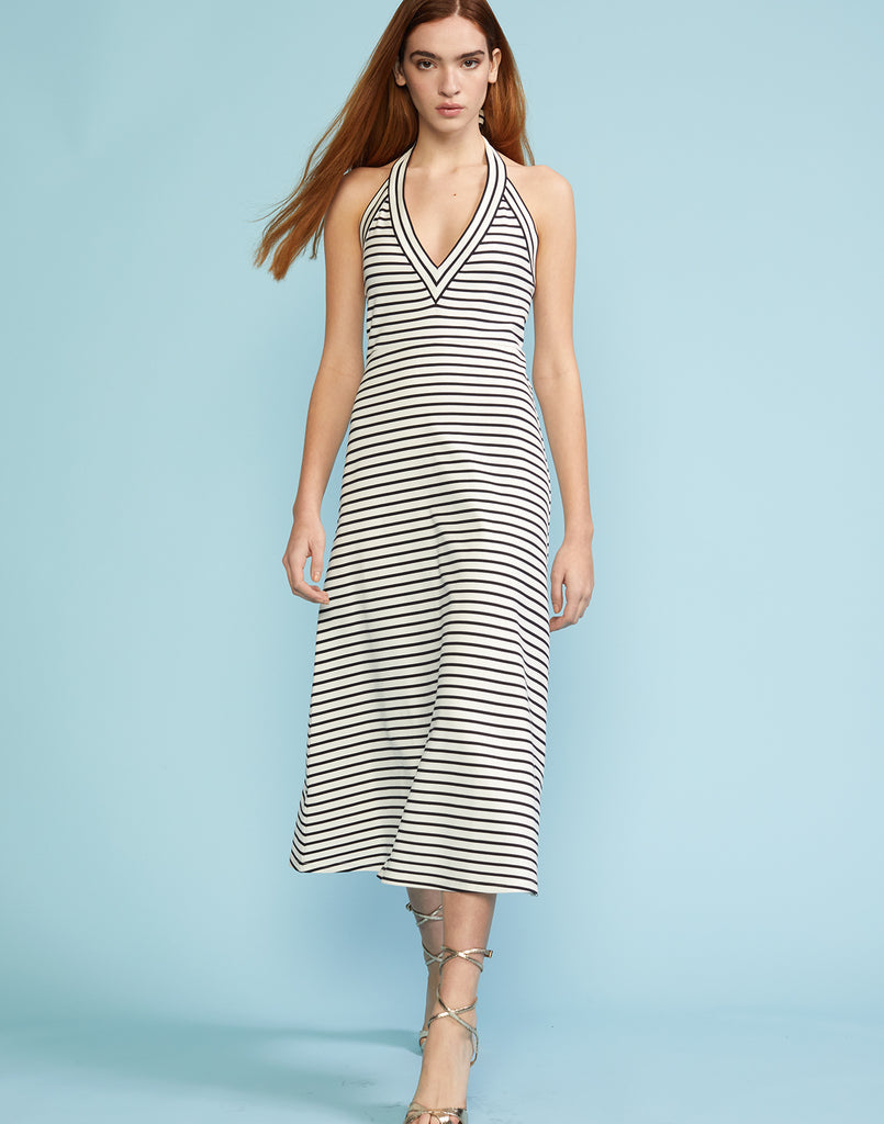 Front view of deep v-neck striped jersey halter dress