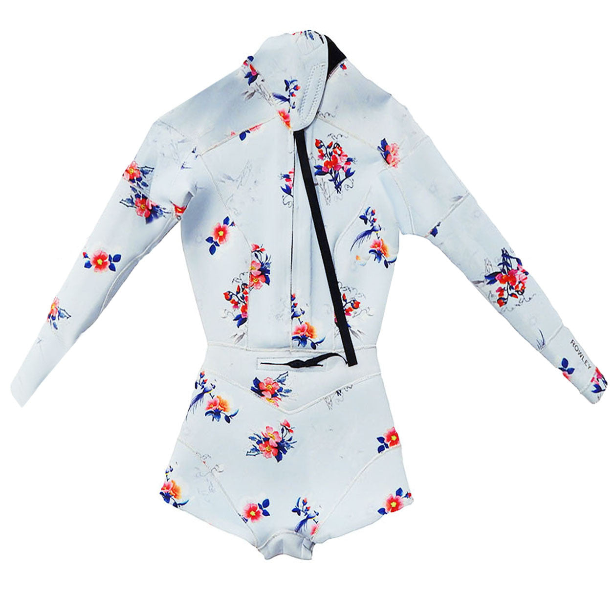 Back flat image of the 2mm Fiber-Lite neoprene floral print wetsuit
