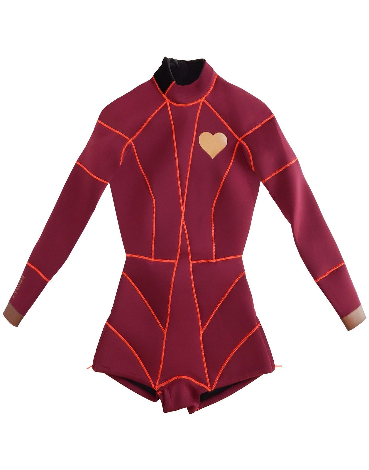 Flat image iof the Heart Emblem Wetsuit 2MM Fiber-Lite Neoprene with heart emblem detail on chest.