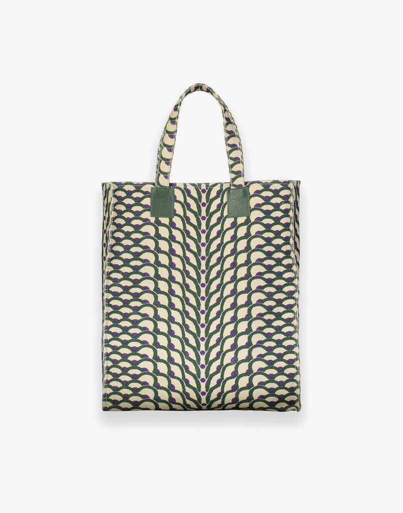Printed Canvas Tote in Green/Purple