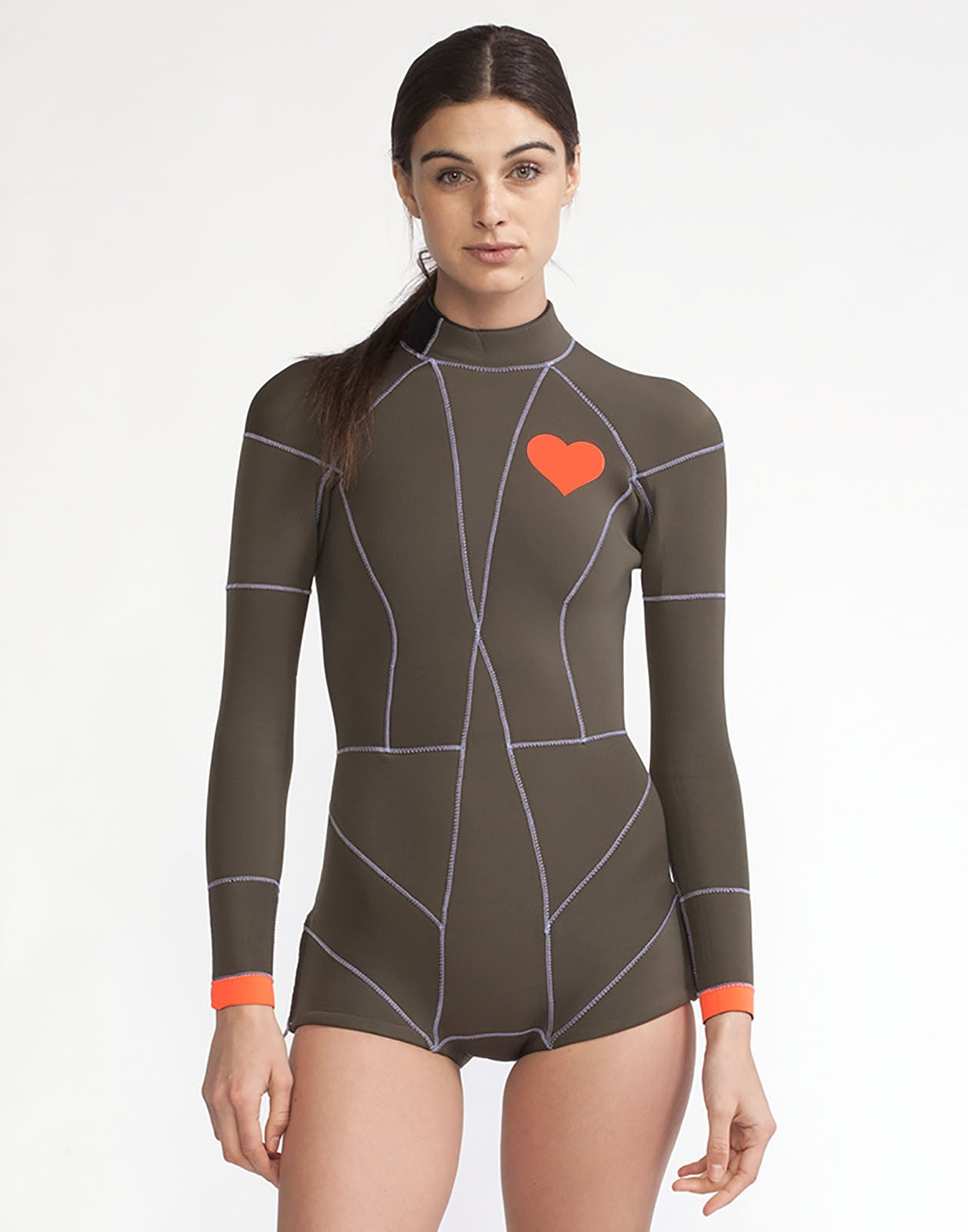 Front view of the 2MM Fiber-Lite neoprene wetsuit with heart emblem detail on chest