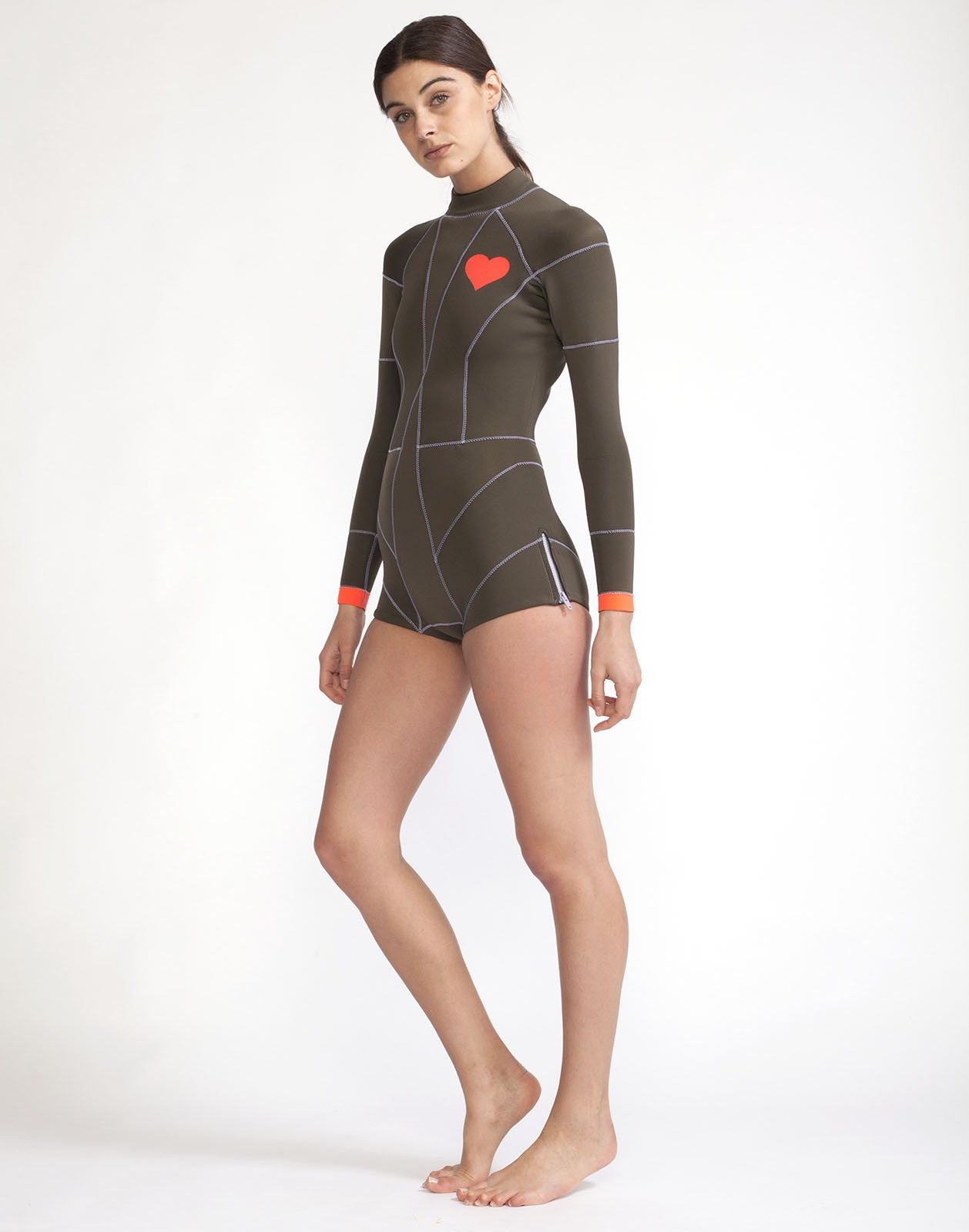 Full front view of the 2MM Fiber-Lite neoprene wetsuit with hea