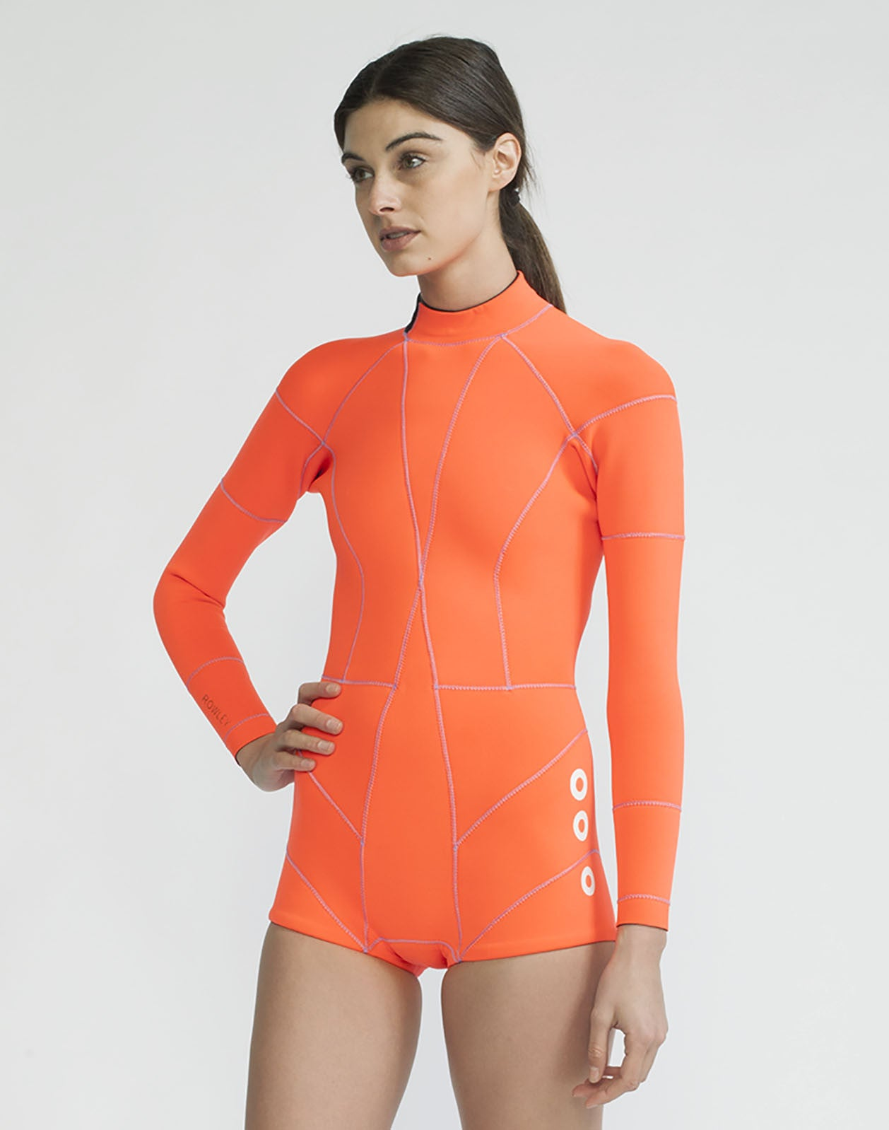 Front view of the Faux Grommet Neon Orange Wetsuit 2MM Fiber-Lite bright orange Neoprene with faux grommets and side zips at hips