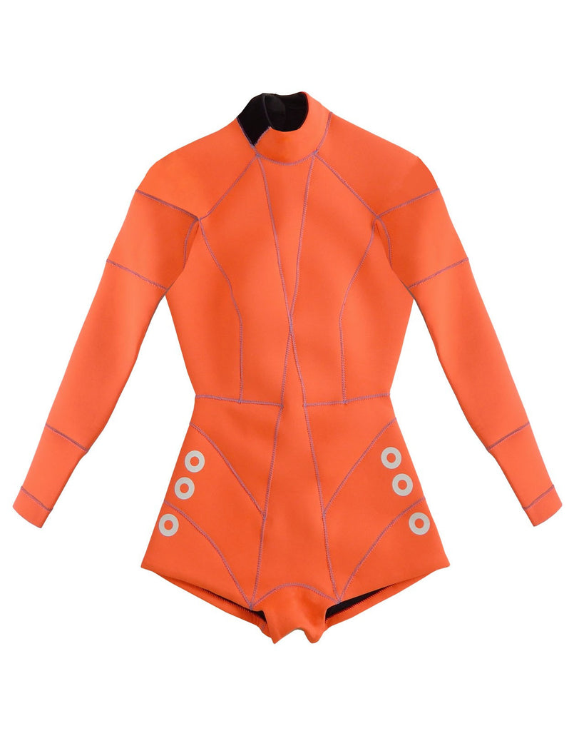 Flat image of the Faux Grommet Neon Orange Wetsuit 2MM Fiber-Lite bright orange Neoprene with faux grommets and side zips at hips
