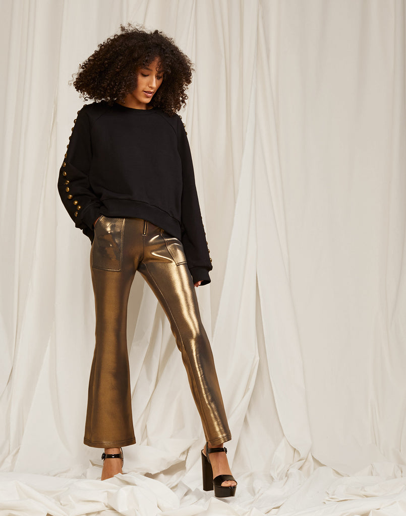 Gold Metallic Bonded Pants