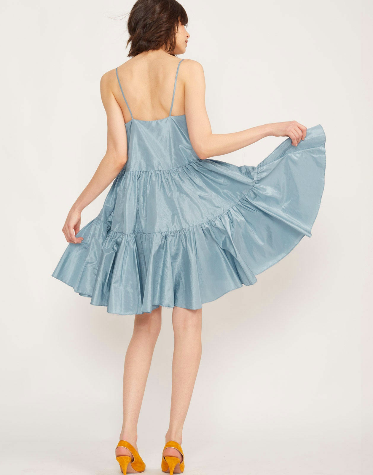 Back view of the Sky Tiered Swing Dress