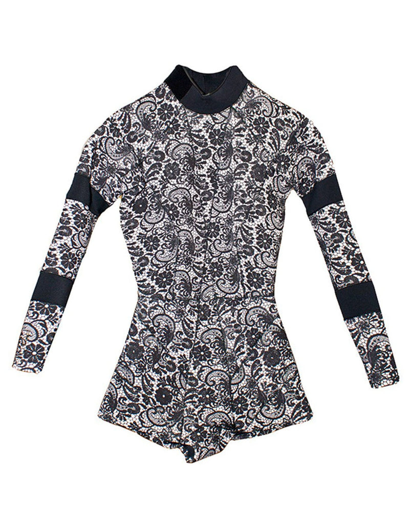 Flat image of the 2mm Fiber-Lite Neoprene wetsuit in black lace print with bonded seams.