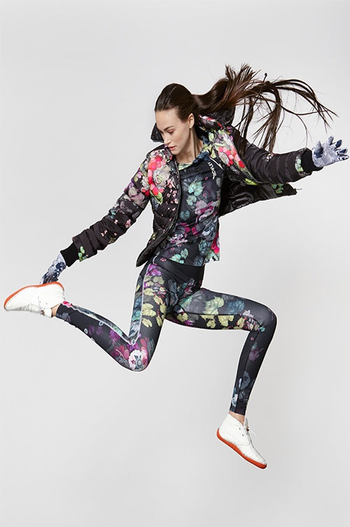 Cynthia Rowley Fall Fitness 2015 look 1 featuring dark floral print leggings, t-shirt, and quilted down jacket