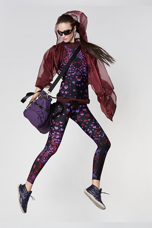 Cynthia Rowley Fall Fitness 2015 look 6 featuring mini hearts print leggings and tank bra top, and sheer burgundy hoodie sweatshirt