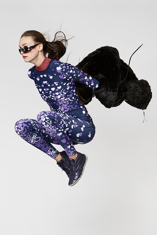 Cynthia Rowley Fall Fitness 2015 look 8 featuring mini hearts print leggings and long sleeve top with metallic rib neck and black faux fur hoodie jacket