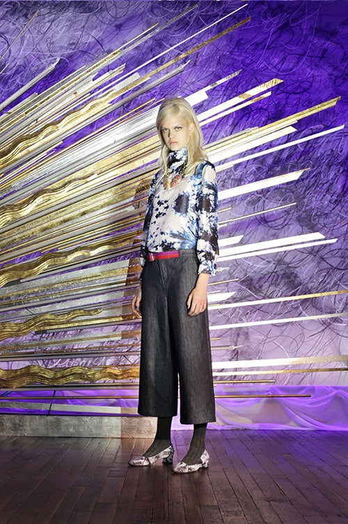 Cynthia Rowley Fall 2014 look 15 featuring a white grey black and blue long sleeve silk printed blouse with high neck and dark grey wide legged trousers