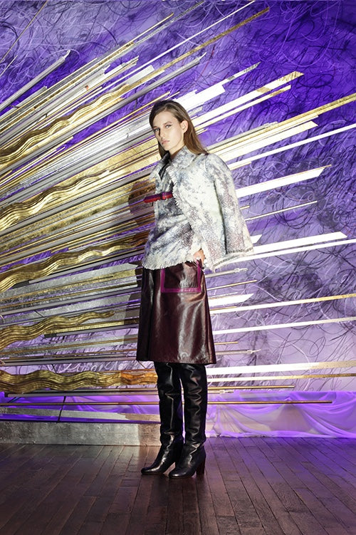 Cynthia Rowley Fall 2014 look 17 featuring a white and grey printed blouse with a matching print jacket with a burgundy buckle detail and a burgundy and pink knee length leather skirt