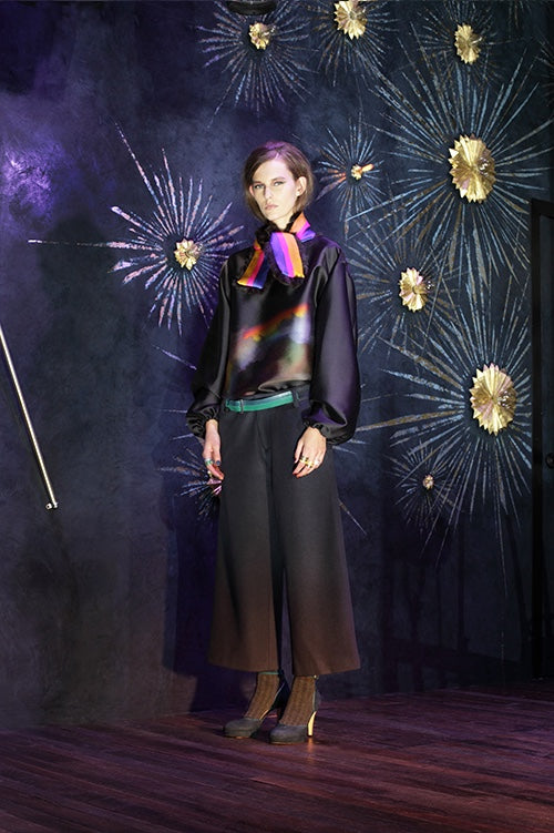 Cynthia Rowley Fall 2014 look 20 featuring a silk blouse with rainbow printed front and bishop sleeves with wide legged black and brown ombre pants and a purple pink and yellow silk scarf