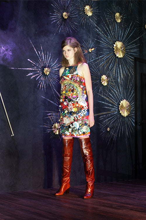 Cynthia Rowley Fall 2014 look 24 featuring a rainbow sleeveless mini dress with appliques and embellishments covering it