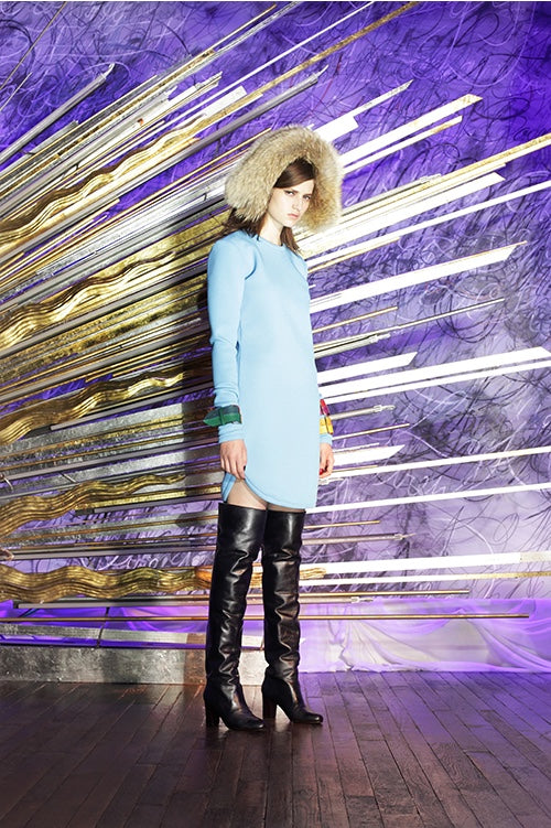 Cynthia Rowley Fall 2014 look 2 featuring a sky blue long sleeve mini dress worn with colorful bangles and thigh high leather boots