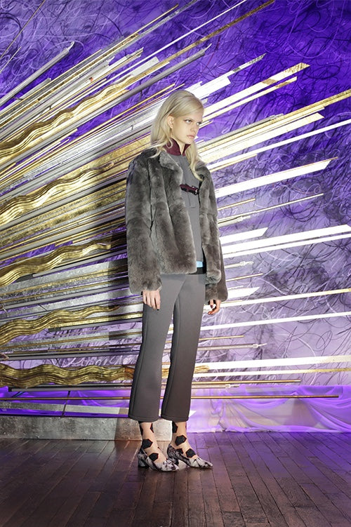 Cynthia Rowley Fall 2014 look 4 featuring a grey shirt with burgundy mandarin collar with a grey fur jacket and grey ombre ankle length pants