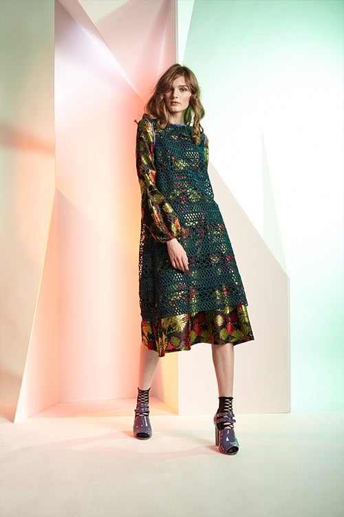 Cynthia Rowley Fall 2016 look 12 featuring a green and red floral jacquard bell sleeve dress with a dark green crochet sleeveless shift dress worn on top