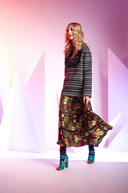 Cynthia Rowley Fall 2016 look 13 featuring a green and red floral jacquard maxi skirt with a navy and white tunic top