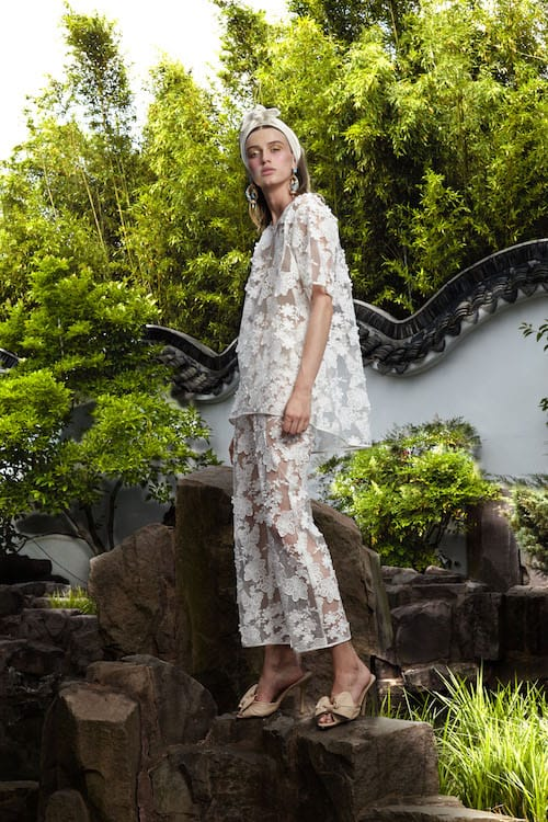 Cynthia Rowley Resort 2018 Look 10 featuring a t-shirt and pants in white floral lace