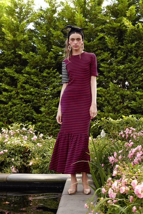 Cynthia Rowley Resort 2018 Look 20 featuring a striped jersey dress with short asymmetrical sleeves