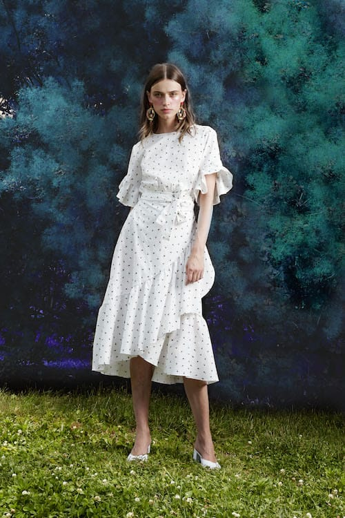 Cynthia Rowley Resort 2018 Look 3 featuring a rosebud printed cotton wrap dress