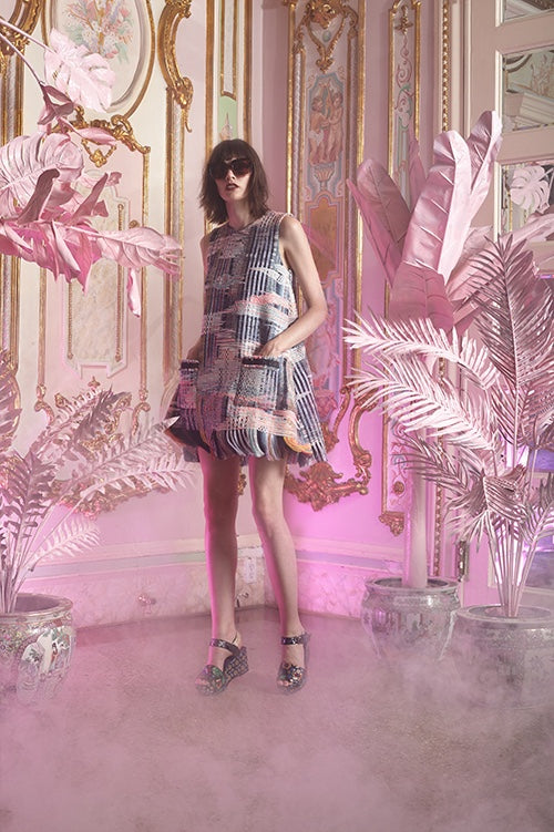 Cynthia Rowley Resort 2016 look 11 featuring a rainbow tweed sleeveless shift dress with fringe hem and front pockets