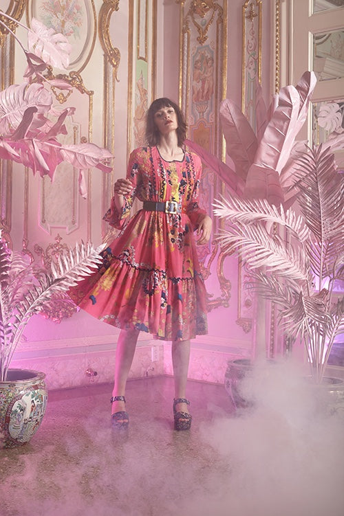 Cynthia Rowley Resort 2016 look 14 featuring a pink printed cotton voile tiered knee length dress with pintuck pleats and leather belt around waist
