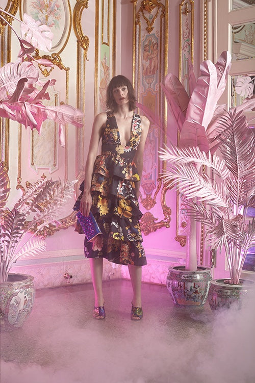 Cynthia Rowley Resort 2016 look 15 featuring a ruffled v-neck midi dress in floral printed silk twill