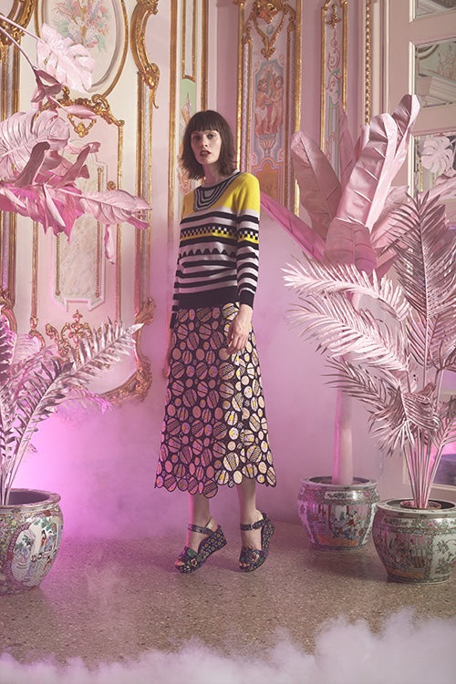 Cynthia Rowley Resort 2016 look 19 featuring an a-line midi skirt crocheted in circular motif and cashmere sweater with multi color stripe and geometric pattern