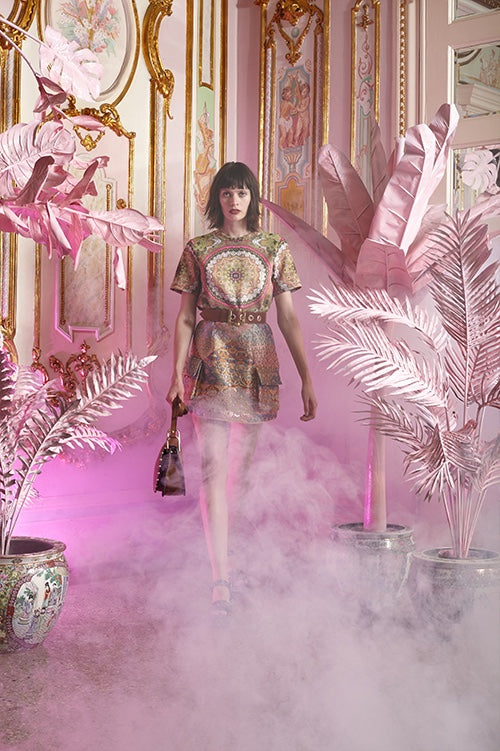 Cynthia Rowley Resort 2016 look 22 featuring a bonded nylon paisley print t-shirt and pastel jacquard mini skirt with front pockets and leather belt