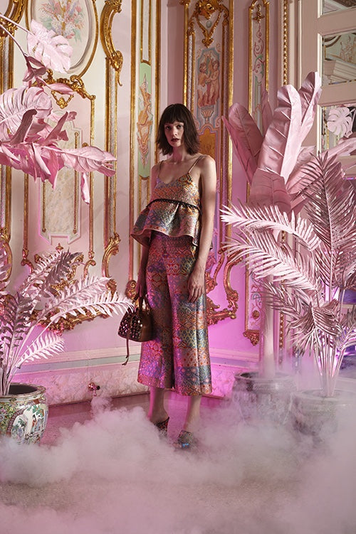 Cynthia Rowley Resort 2016 look 24 featuring pastel jacquard wide leg cropped pants and a spaghetti strap camisole with peplum