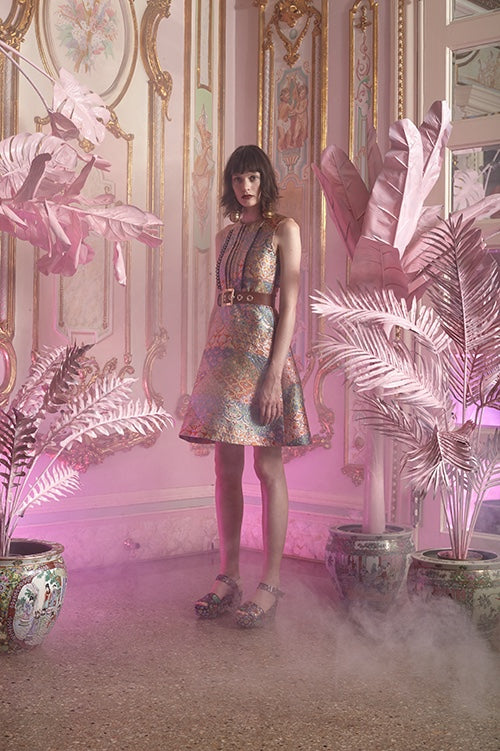 Cynthia Rowley Resort 2016 look 25 featuring a pastel jacquard knee length dress with pintuck front and brown leather belt