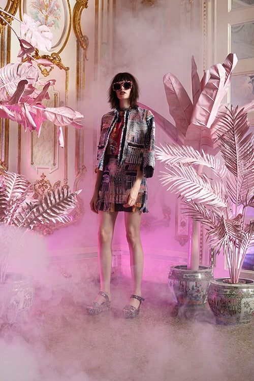 Cynthia Rowley Resort 2016 look 9 featuring a rainbow tweed fringed hem mini skirt and rainbow tweed cropped jacket worn over a pink printed cotton voile top