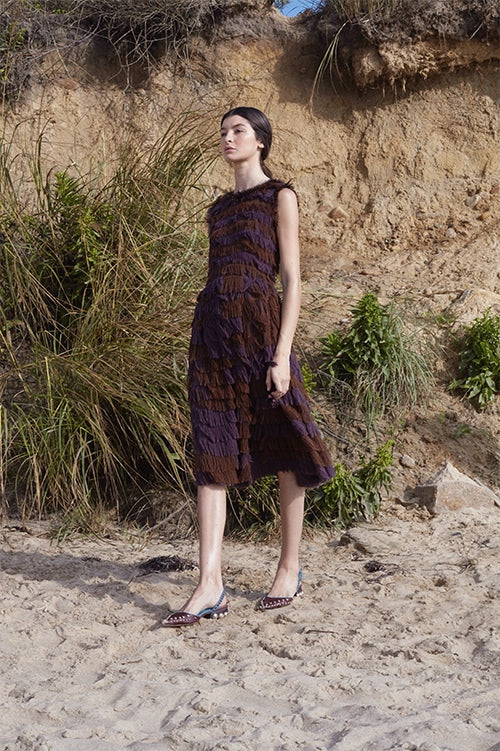 Cynthia Rowley Spring 2016 look 11 featuring a sleeveless knee length dress in brown and purple tiered fringe fabric