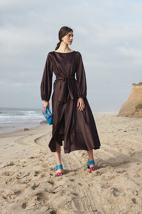 Cynthia Rowley Spring 2016 look 12 featuring a long sleeve midi dress with waist tie in brown polished cotton