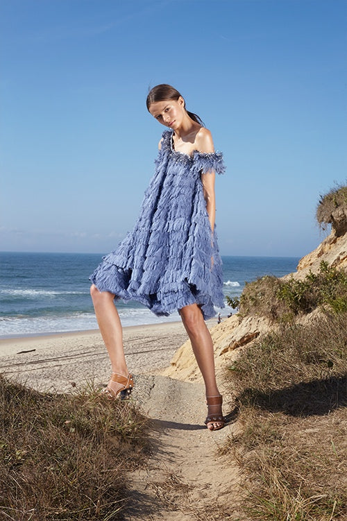 Cynthia Rowley Spring 2016 look 22 featuring a blue fringe knee length sleeveless swing dress