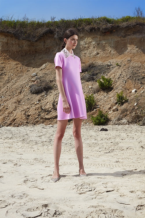 Cynthia Rowley Spring 2016 look 28 featuring pink bonded nylon mini t-shirt dress with embellished collar
