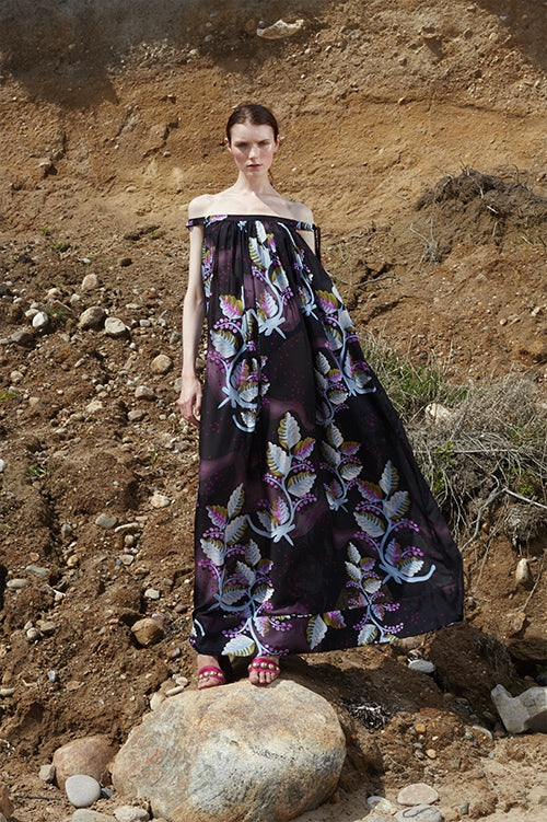 Cynthia Rowley Spring 2016 look 32 featuring a black leaf printed silk off shoulder maxi dress