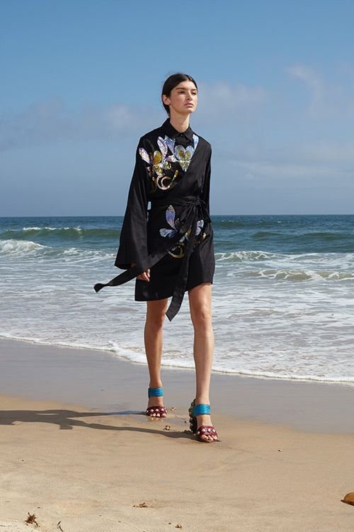 Cynthia Rowley Spring 2016 look 4 featuring featuring a polished cotton kimono wrap dress with sequin embellishments